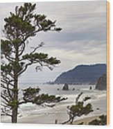 Foggy Morning At Tolovana Beach Oregon Wood Print