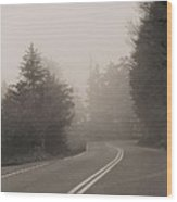 Foggy Morning Drive Wood Print