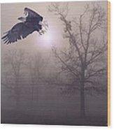 Foggy Morning Flight Wood Print