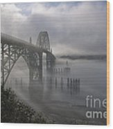 Foggy Morning In Newport Wood Print