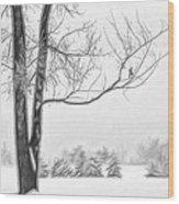 Foggy Morning Landscape - Fractalius 5 Wood Print by Steve Ohlsen