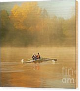 Foggy Morning On The Chattahoochee Wood Print by Darren Fisher