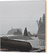 Foggy Morning On The Washington Coast Wood Print
