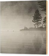 Foggy Morning On The Water Wood Print