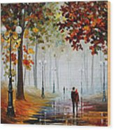 Foggy Morning - Palette Knife Contemporary Landscape Oil Painting On Canvas By Leonid Afremov - Size Wood Print