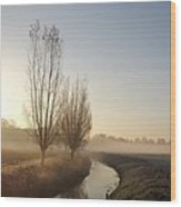 Foggy Morning With Nice View Wood Print