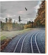Foggy Nature Along The Train Tracks Wood Print