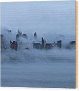 Foggy New York City Wood Print