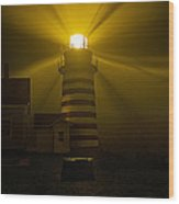 Foggy Night At West Quoddy Light Wood Print