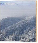 Foggy Peak Wood Print