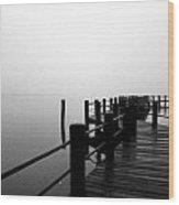 Foggy Pier  Wood Print
