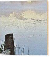Foggy Pond Wood Print