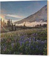 Foggy Rainier Sunset Wood Print