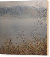 Foggy River Wood Print