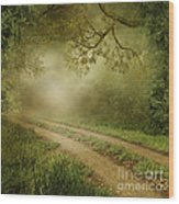 Foggy Road Photo Wood Print by Boon Mee
