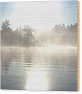 Foggy Sunrise Wood Print