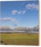 Foggy Sunrise On The Tetons - Grand Teton National Park Wyoming Wood Print