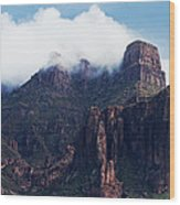 Foggy Superstition Mountains   Wood Print