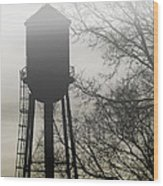 Foggy Tower Silhouette Wood Print