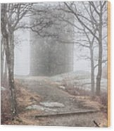 Foggy View Of The Summit Of Mount Battie Wood Print