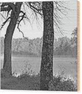 Foggy Waters Bw Wood Print