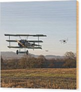 Fokker Dr1 - Day's End Wood Print by Pat Speirs
