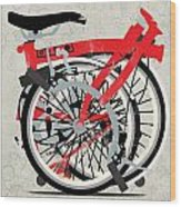 Folded Brompton Bike Wood Print by Andy Scullion