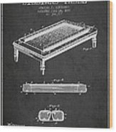 Folding Billiard Table Patent From 1887 - Charcoal Wood Print