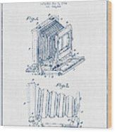 Folding Camera Patent Drawing From 1904 - Blue Ink Wood Print