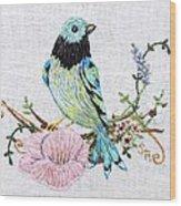 Folk Art Bird Embroidery Illustration Wood Print
