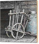 Folk Art Cart Still Life Wood Print by Tom Mc Nemar