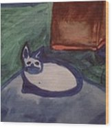 Folk Art Cat Wood Print