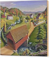 Folk Art Covered Bridge Appalachian Country Farm Summer Landscape - Appalachia - Rural Americana Wood Print