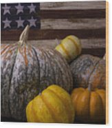 Folk Art Flag And Pumpkins Wood Print