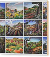 Folk Art Seasonal Seasons Sampler Greetings Rural Country Farm Collection Farms Landscape Scene Wood Print