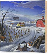 Folk Art Winter Landscape Wood Print