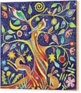 Folk Tree Wood Print