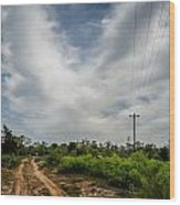 Follow The Dirt Road Home Wood Print by Kelly Kitchens