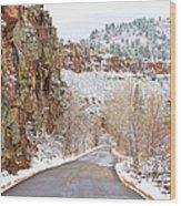 Follow The Red Rock Ridge Winter Road  Wood Print