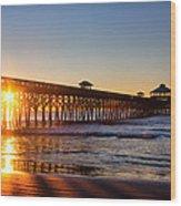 Folly Beach Pier At Sunrise Wood Print