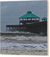 Folly Beach Pier During Sandy Wood Print