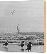 Folly Beach Pier Foggy Day Surf Wood Print by Dustin K Ryan