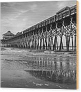 Folly Beach Pier In Black And White Wood Print