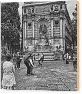 Fontaine Saint Michel Wood Print