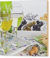 Food And Wine On A Buffet Table Wood Print