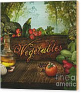 Food Design - Fresh Vegetables In Celery Forest Wood Print by Mythja  Photography
