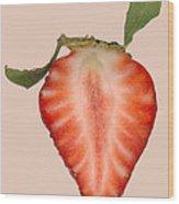 Food - Fruit - Slice Of Strawberry Wood Print by Mike Savad
