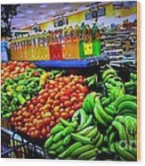 Food Market Wood Print