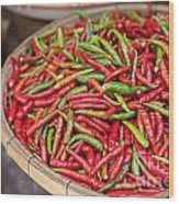 Food Market With Fresh Chili Peppers Wood Print