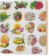 Food On Plates Set Wood Print